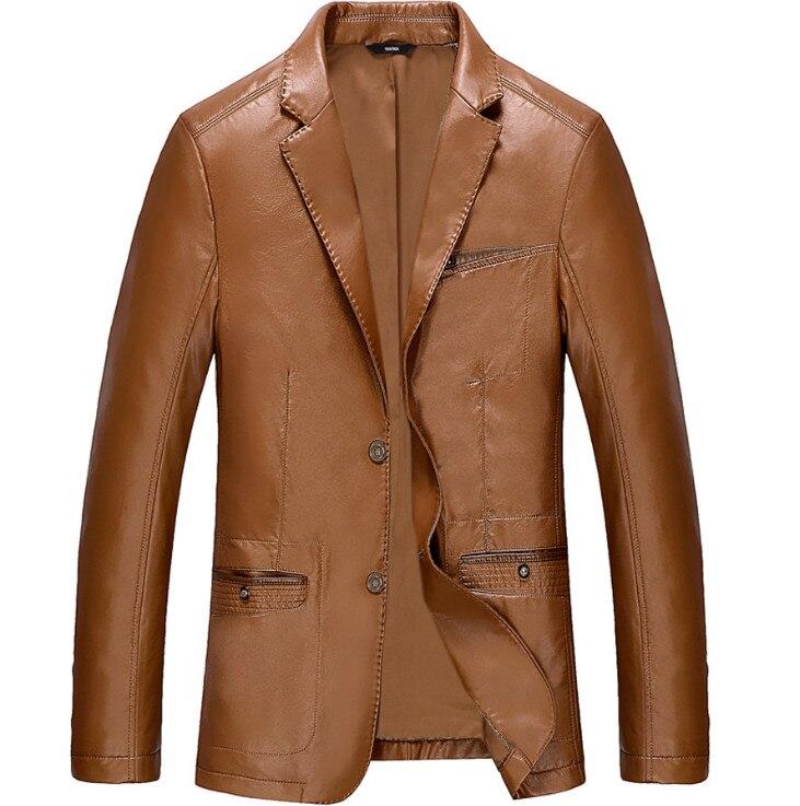 Spring Autumn Brand Leather Jackets Men Smart Casual Pocket Decoration PU Leather Jacket Male Thin   Coat   Black Blue M-4XL
