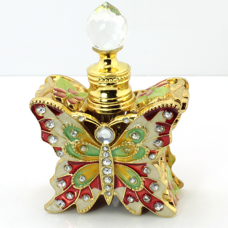 Butterfly section retro color diamond high-end perfume bottle refillable essential oil bottle