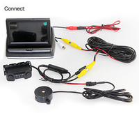 Sinairyu 3 In 1 Sound Alarm CCD Car Reverse LED Rear View Parking Camera Sensor Monitor
