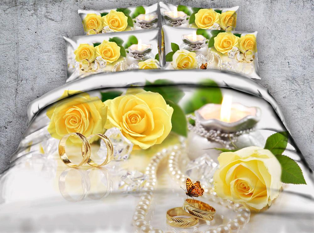 Wedding Yellow Rose Flower 3D Reactive Printed Bedding Sets Quilt/Duvet Covers Bedspreads Girls Bedroom Decor Woven 500T 4pcsWedding Yellow Rose Flower 3D Reactive Printed Bedding Sets Quilt/Duvet Covers Bedspreads Girls Bedroom Decor Woven 500T 4pcs