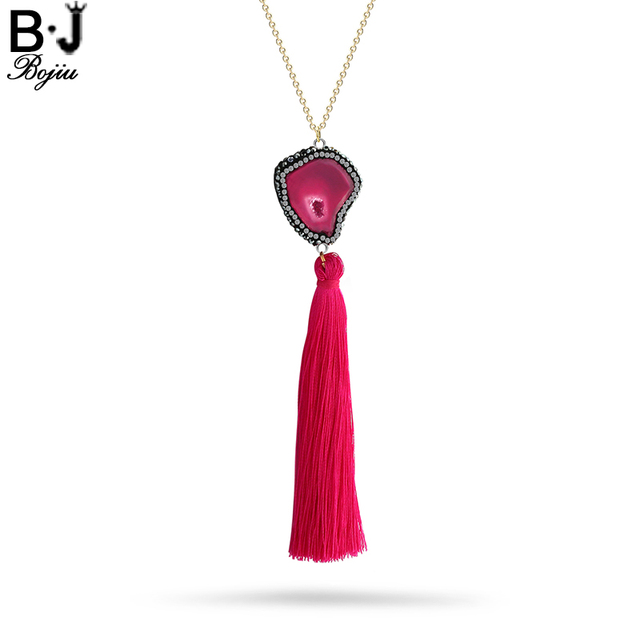 BOJIU Tassel Long Necklace For Women Crystal Zircon Bohemia Woman Natural  Stone Pendant Fringed Necklace Clothes ad4d414c992