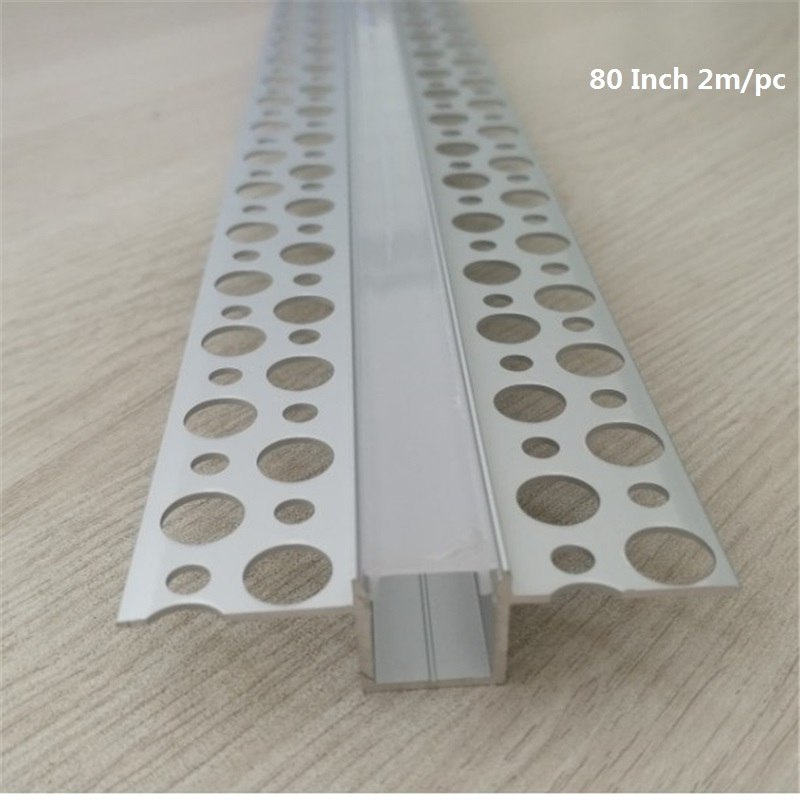 5-30pcs/lot 80inch 2m Embedded Led Aluminium Profile,10mm Pcb Strip Tape Light Flat Edge Invisible Linear Channel For Wall /ceil