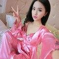 2016 Silk Pajamas Three Suit Women's Spring and Autumn Silk Thin Sexy Lace Nightdress Wholesale Price