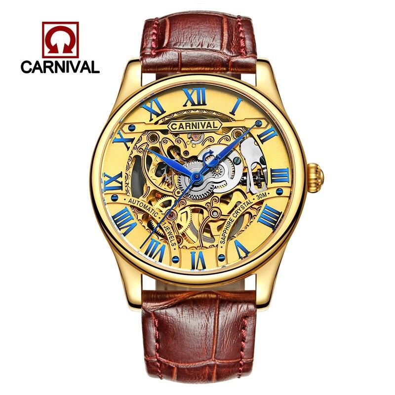 Швейцария карнавал Для мужчин часы Элитный бренд Механическая Wristwatche часы мужской Водонепроницаемый reloj hom скелет часы Сапфировое 3