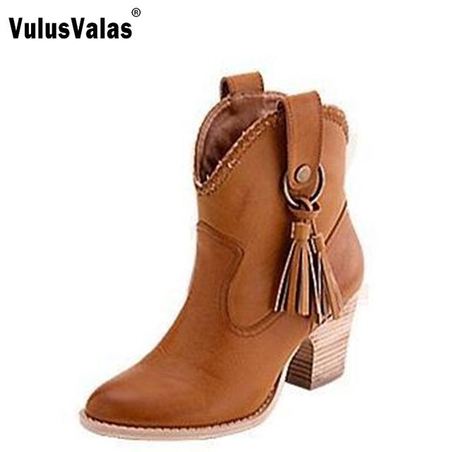 US $49.99 |women high heel half short ankle boots party autumn winter botas fashion pointed toe footwear warm boot shoes P19686 size 33 46 in Ankle