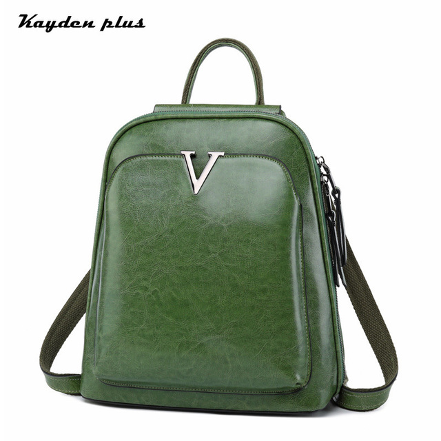 Cow Leather Backpack Women 2018 New Fashion Oil Wax Leather Shoulder School  Bag Lady Retro Laptop 013c93eab9