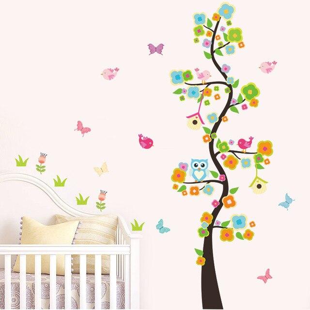 US $2.53 21% OFF|Eule vögel blume schmetterling baum entfernbare  wandaufkleber poster kinder baby kinderzimmer schlafzimmer dekoration  aufkleber decor ...