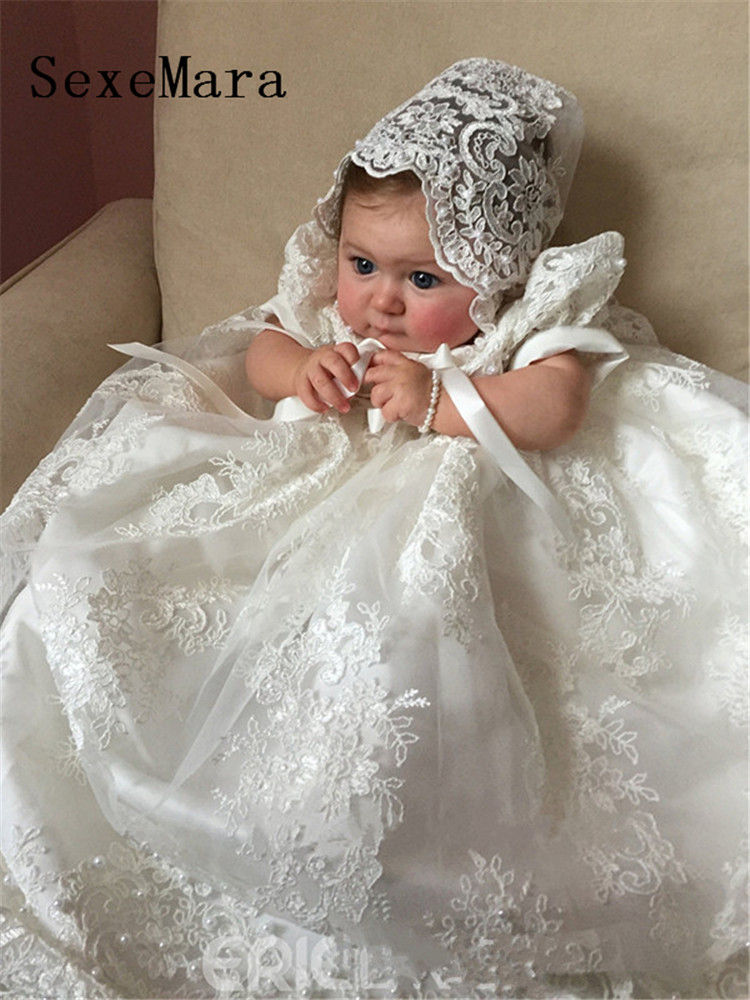 Image 2 - New Cute Long Christening Gown for Baby Girls Lace Pearls Short Sleeve Customized Baptism Dress White Ivory-in Dresses from Mother & Kids