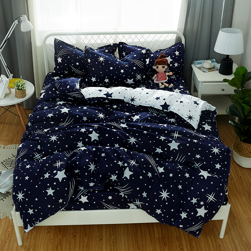 Meteor Shower Bedding Sets Bedroom Set Black And White Duvet Cover Sheet Pillowcase Five-pointed Star 4/3pcs Home Textile Bedding Sets Bedding