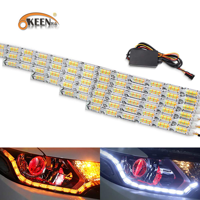 OKEEN 2pcs Waterproof Flexible LED Strips Lights White DRL Daytime Running Light of Sequential Flow Style Switchback Headlight titanium ring