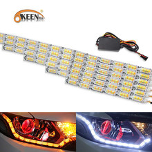 OKEEN 2pcs Waterproof Flexible LED Strips Lights White DRL Daytime Running Light of Sequential Flow Style Switchback Headlight(China)