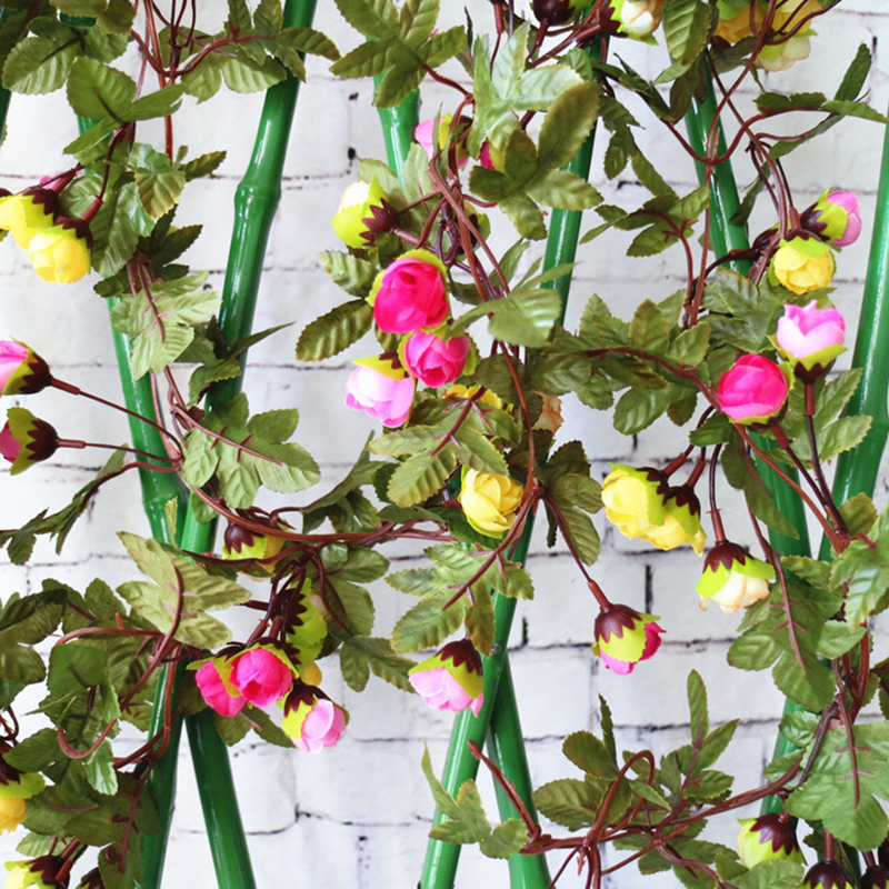 42 Heads Fake Silk Roses Ivy Vine Artificial Flowers string with Green Leaves For Home Wedding Hanging Garland Decor 2.3 M thumbnail