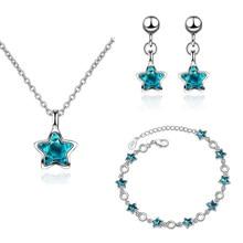 XIYANIKE – ensemble de bijoux en argent Sterling 925, petite étoile, cristal bleu, cadeau de mariage pour femmes et filles, BR + EA + NE, nouveau Design