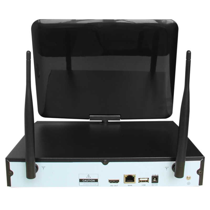 """مراقبة لاسلكية نظام شبكة 10.1 """"شاشات كريستال بلورية NVR مسجل Wifi كيت 6CH 960P HD الفيديو المدخلات 6PS 1.3MP الأمن كاميرا"""