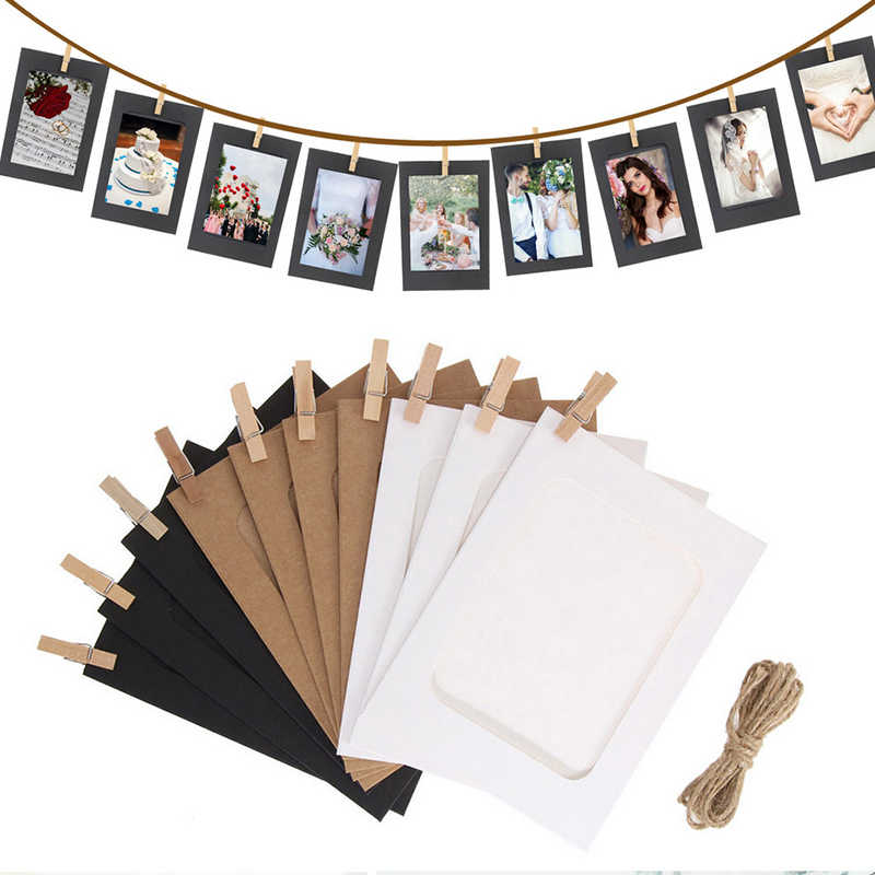 10Pcs 3Inch Combination Paper Frame with Clips and Rope Frame for Pictures DIY Hanging Picture Album Home Decor Wall Photo Frame