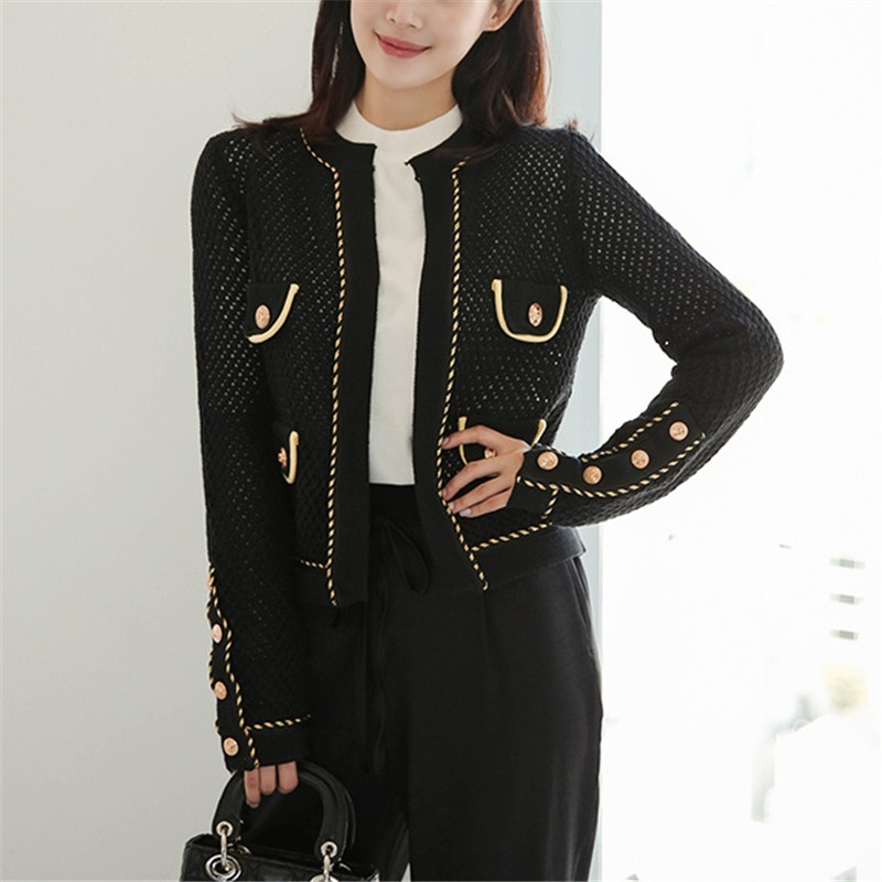 new fashion black hollow out knitted   jacket   women cardigans gold button o neck sweater coats women outwear   basic     jacket   Q067