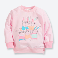 New Spring Fall Baby Girls T Shirts Pink Cartoon Images Children Clothes Cotton Long Sleeve Kids