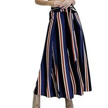 Women Vintage Drawstring Vertical Strip Wide Leg Pants Elastic Waist Pockets Ladies Casual Culottes Pants 2018