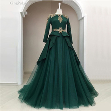Green Muslim Evening Dresses 2019 A-line Long Sleeves Tulle Lace Crystals Islamic Dubai Saudi Arabic Elegant Gown