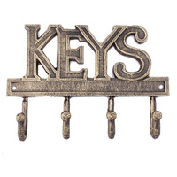 Wall Mounted Key Hook Rustic Western Cast Iron Key Hanger Decorative Key Organizer Rack with 4 Hooks with Screws and Anchors