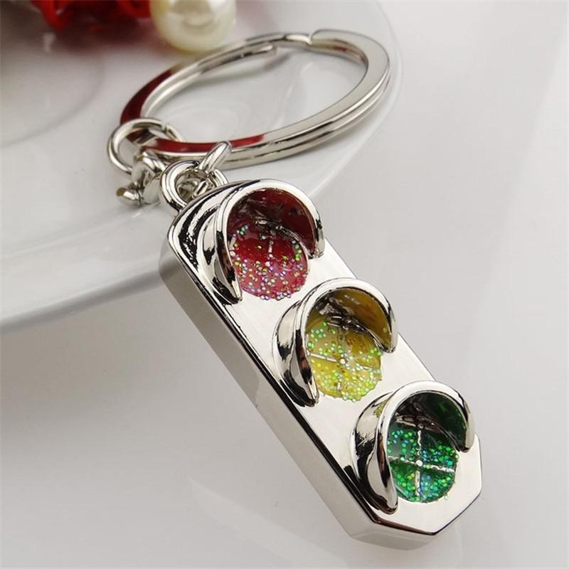 H:HYDE Funny Cute Traffic Light Shaped Key Chains Silver-color Keys Ring 2018 Fashion Trinket Women Handbag Key Holder for Women