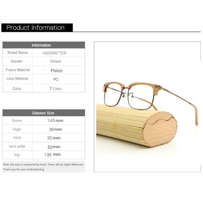 2afbbda2446 HDCRAFTER Brand Designer Wooden Glasses Frames with Clear Lens Plates Eyeglasses  Frame Women Men Computer Reading Plain Glasses-in Eyewear Frames from ...