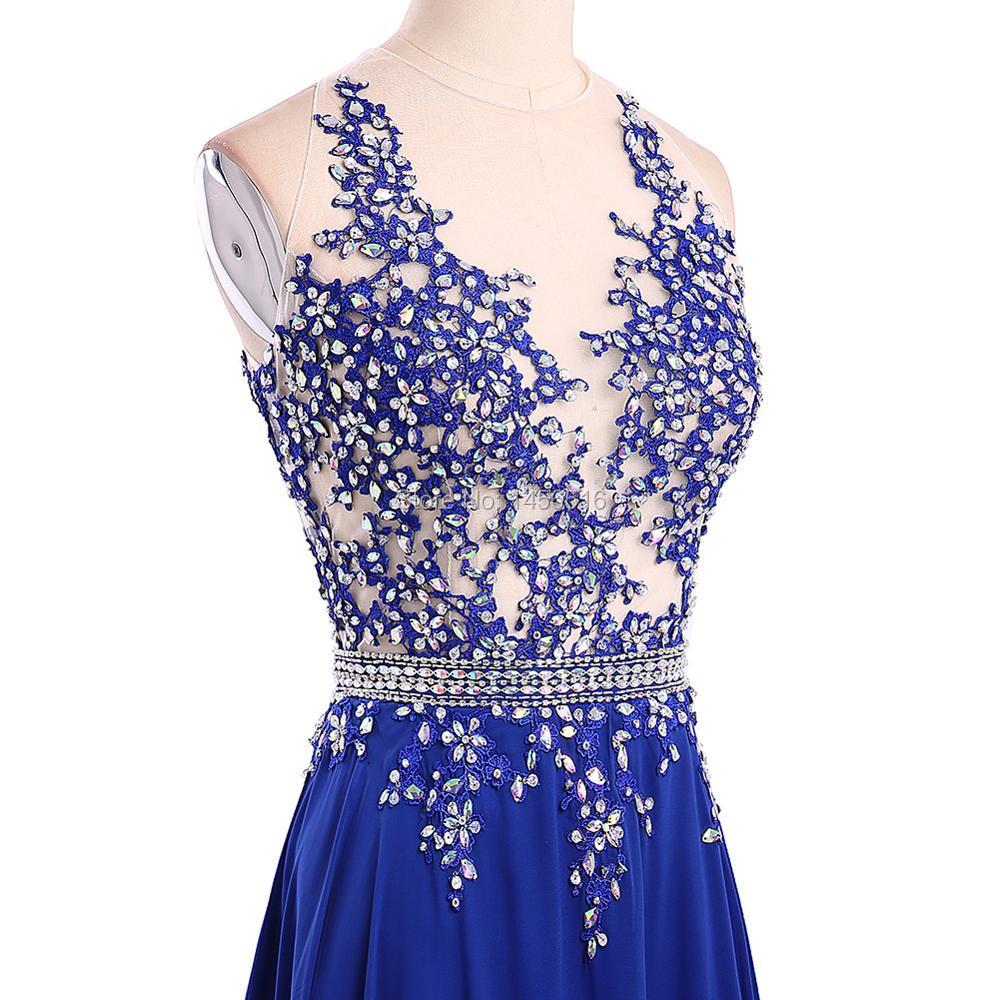ece9d274427 1191 W robe de festa longo brillant perlé bleu Royal longues robes de bal  2017 Sexy dos nu une ligne longue robe de soirée de fête