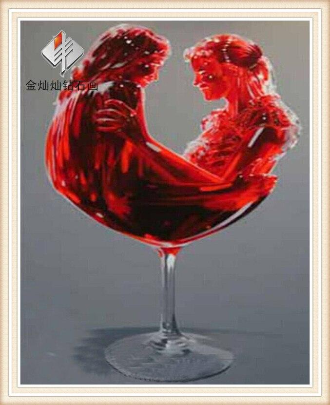 Вышивка бокал красного