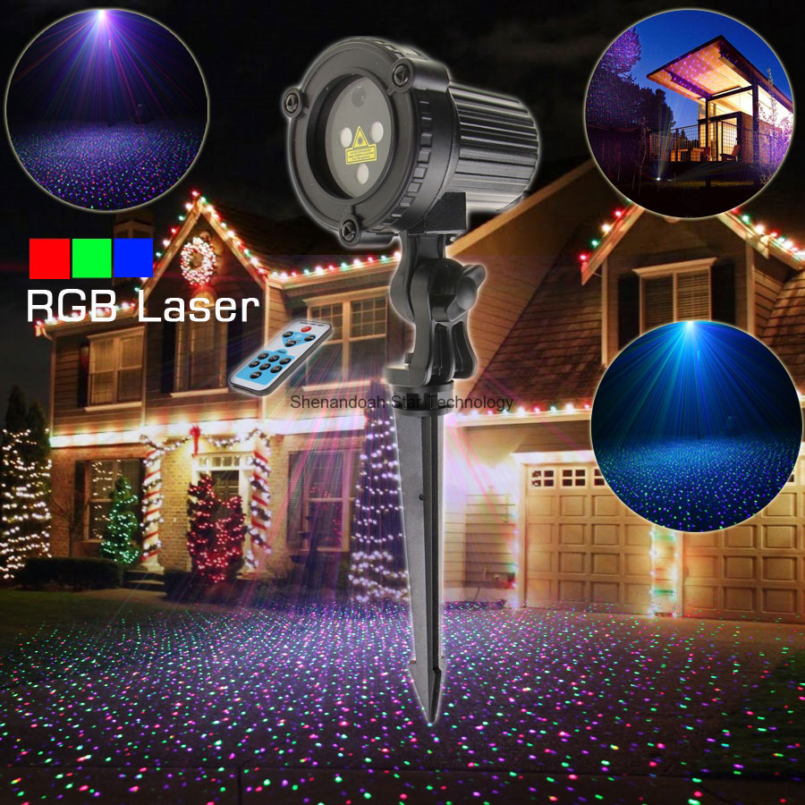 ESHINY Remote Outdoor WF RGB Laser Full Stars Projector Landscape Snow Xmas Garden Party House Wall Tree DJ Effect Light T120 12v 50w colored rgb outdoor lights 110v wall projector flood light garden waterproof landscape lamp remote control by dhl 6pcs