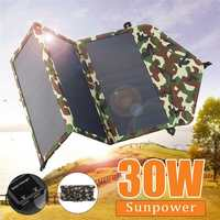 30W Folding Waterproof Sun Power Solar Cells Charger 5V Double USB Output Devices Portable Solar Panels for Smartphones