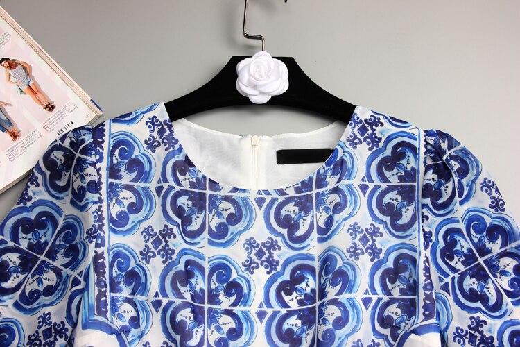 S 4Xl de alta calidad 2018 verano y otoño nueva moda azul y blanco estampado de porcelana de manga larga delgado vestido fresco de las mujeres - 3