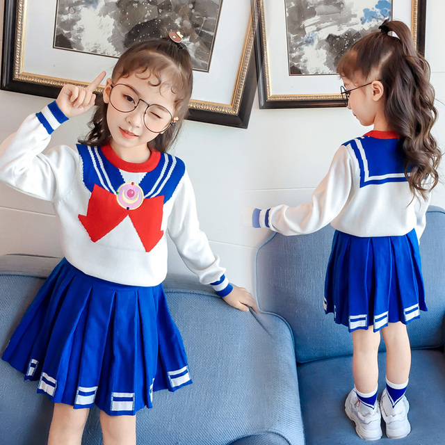 2019 Brand spring girls clothing sets children knitting long sleeve sweatshirt and hot skirts autumn kids clothes sports suits