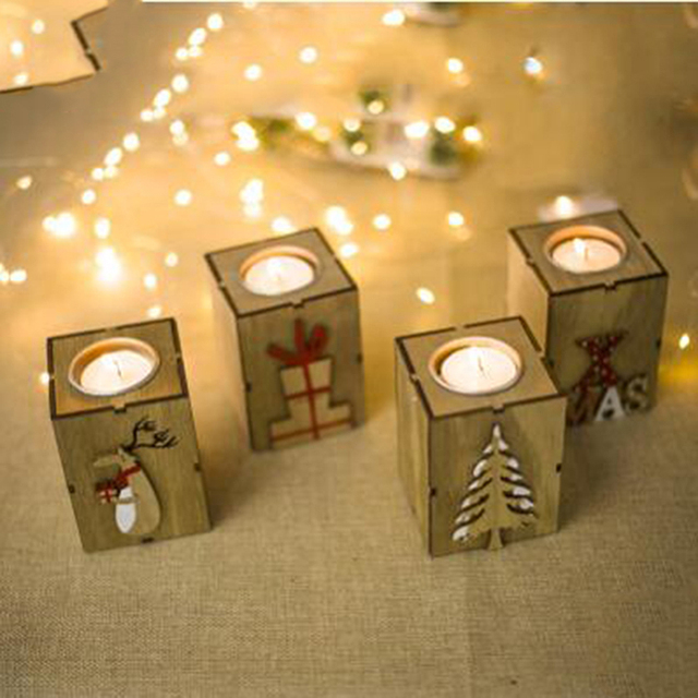 New Candlestick Candle Holder Christmas Decorative Lanterns With Hanging Star Christmas Tree Decoration Wedding Home Decor Gift