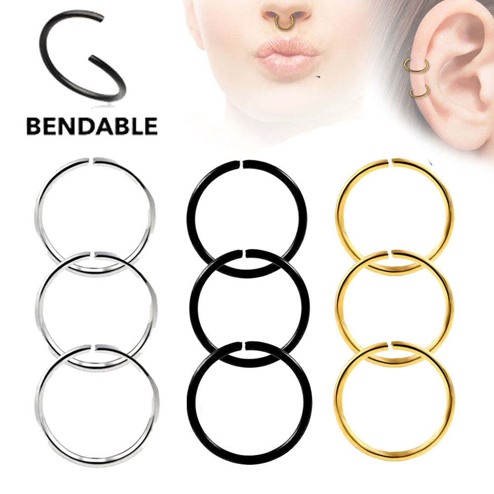 20g Thin 925 Sterling Silver Seamless Hoop Ring Nose Ear Septum Tragus Cartilage