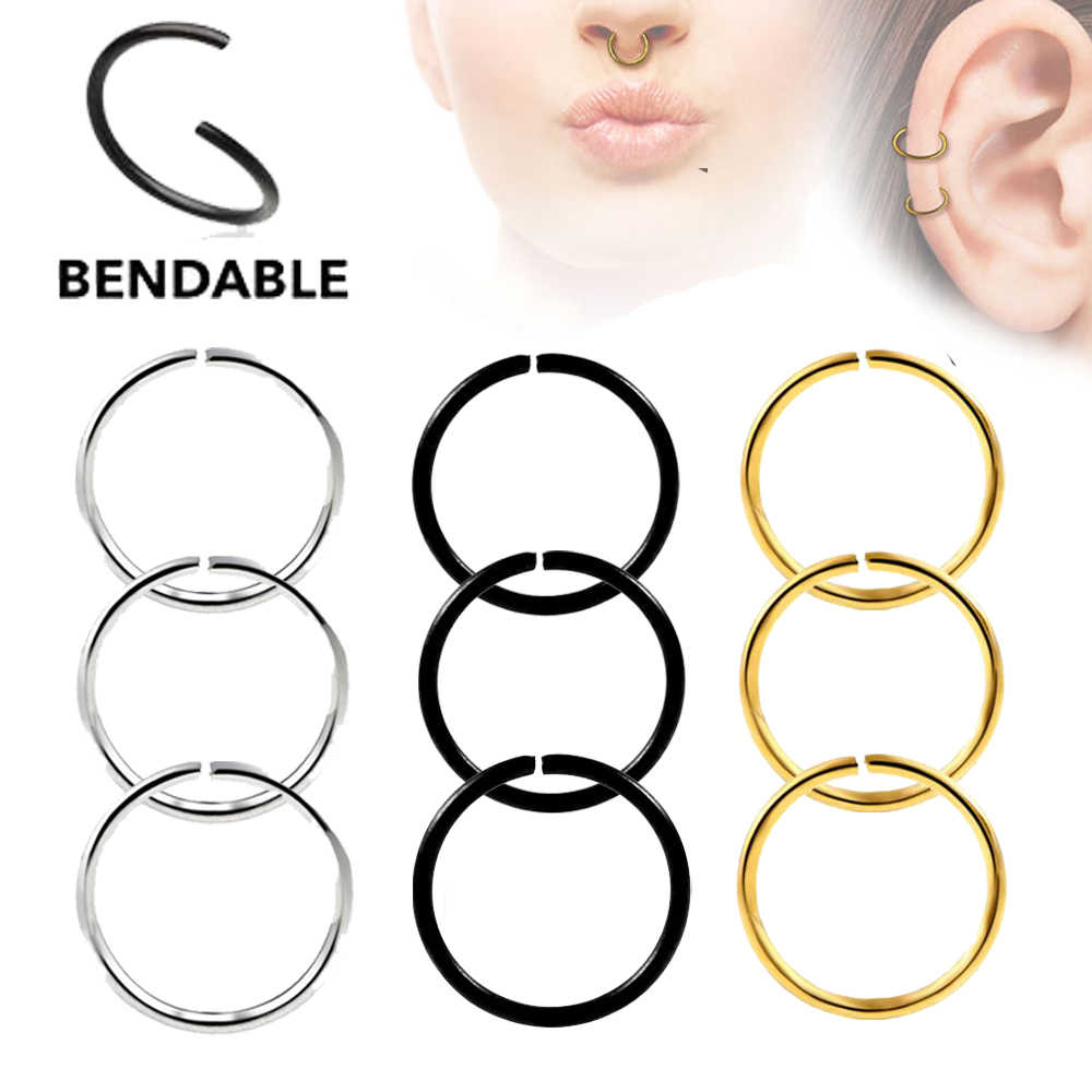 1PC Surgical Steel Bendable Seamless Hinged Nose Hoop Ring Septum Clicker Ear Cartilage Tragus Helix Piercing Body Jewelry 20g