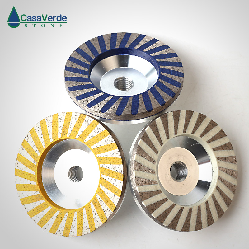 Free shipping 3pcs set diamond turbo resin filling aluminum body cup wheels 4 inch for grinding