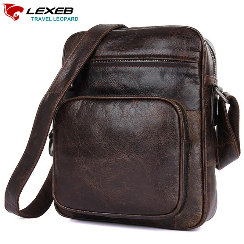 LEXEB Brand Vintage Genuine Natural Leather Men's Messenger Bags For 7.9 iPad Classic Travel Casual Fashion Small Bag Everyday футболка classic everyday