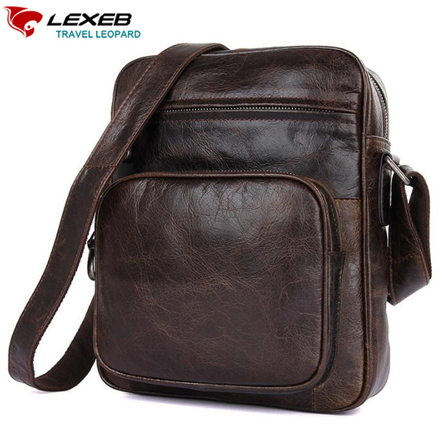 c1fcc7432576 LEXEB Brand Vintage Genuine Natural Leather Men s Messenger Bags For 7.9  iPad Classic Travel Casual Fashion Small Bag Everyday