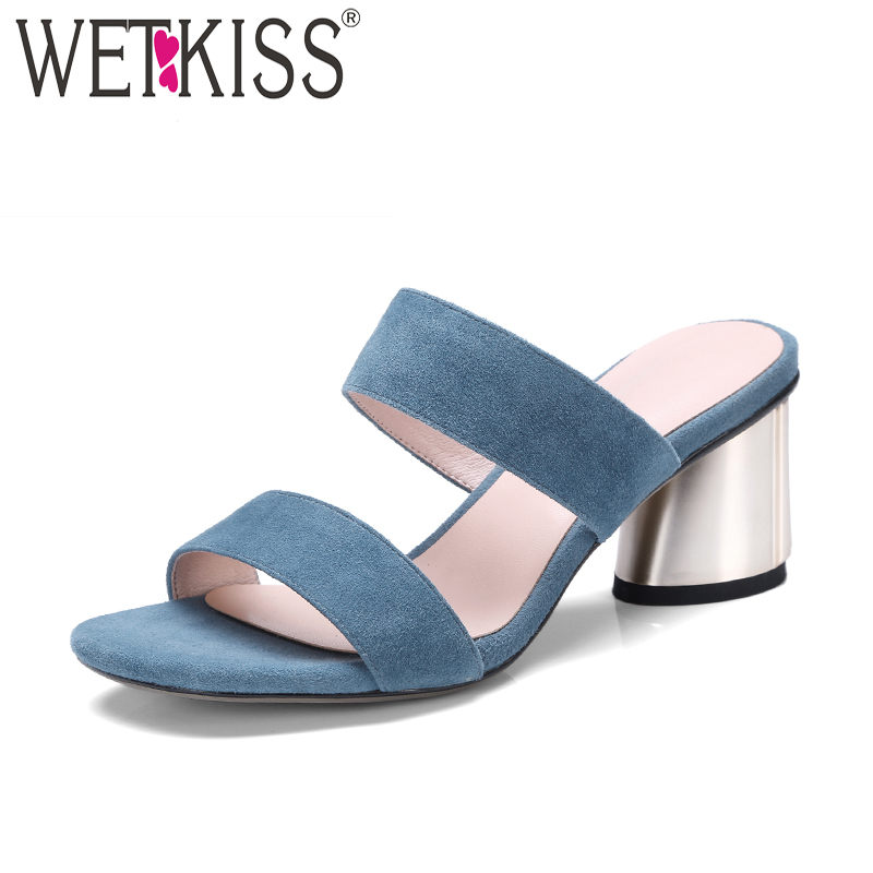 WETKISS Summer High Heels Women Slippers 2018 New Kid Suede Female Mules Shoes Open Toe Strange Style Casual Slides Footwear 2018 kid suede brand summer shoes peep toe slingbacks women sandals runway fur strange style med heels casual vacation shoes l30