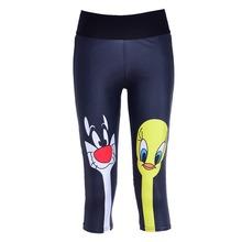 New 1039 Sexy Girl Women Sylvester pussycat TweetyBird 3D Prints Workout Fitness elastic Cropped Trousers Leggings Pocket Pants