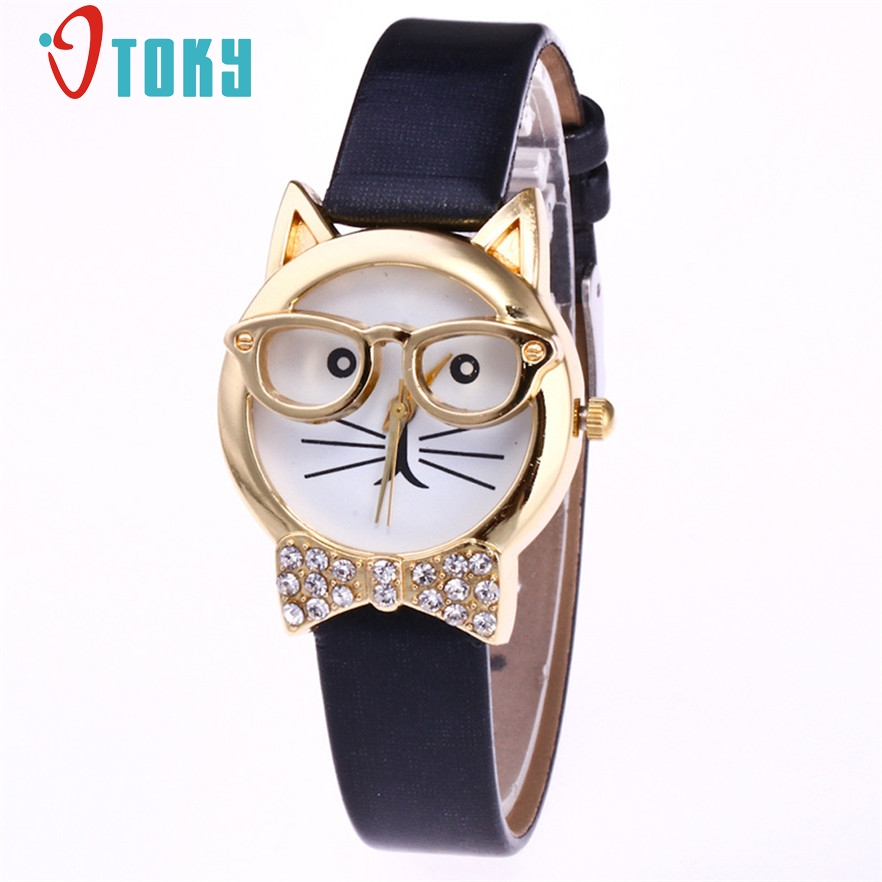 OTOKY Cute Glasses Cat Watch Clock Montre femme Women Rhineston Quartz Wrist Watch Famous brand Ladies watches Female #20 Gift купить