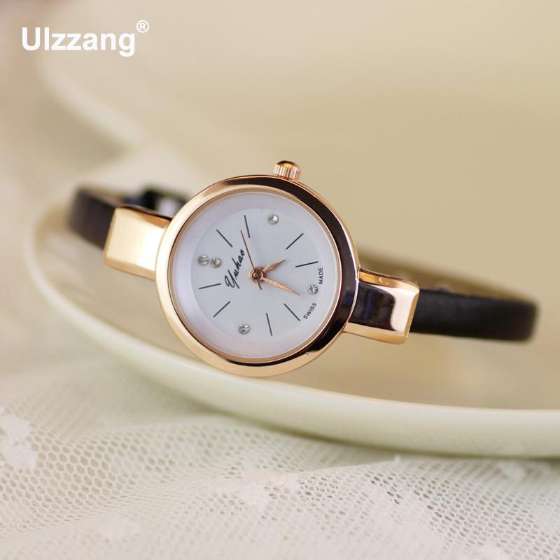 Luxury Yuhao Rose Gold Crystal Diamond Thin Leather Strap Quartz Wedding Watch Wristwatches for Women Ladies GirlsLuxury Yuhao Rose Gold Crystal Diamond Thin Leather Strap Quartz Wedding Watch Wristwatches for Women Ladies Girls