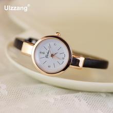 Luxury Yuhao Rose Gold Crystal Diamond Thin Leather Strap Quartz Wedding