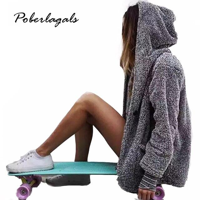 2016 осень new высокого качества женщины зимняя Мода теплый толстый серый мех пальто плюшевые пальто кардиган V-образным Вырезом кардиганы Куртка Корейский