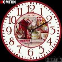 HOMFUN Full Square/Round Drill 5D DIY Diamond Painting Fruit basket clock 3D Embroidery Cross Stitch Home Decor A21384
