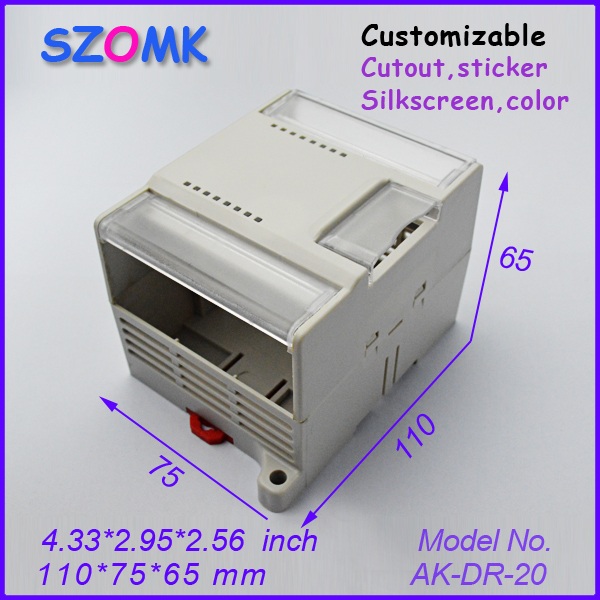 2014 new plastic din rail enclosure 4 pcs 110 75 65mm cabinet electronics case housing junction