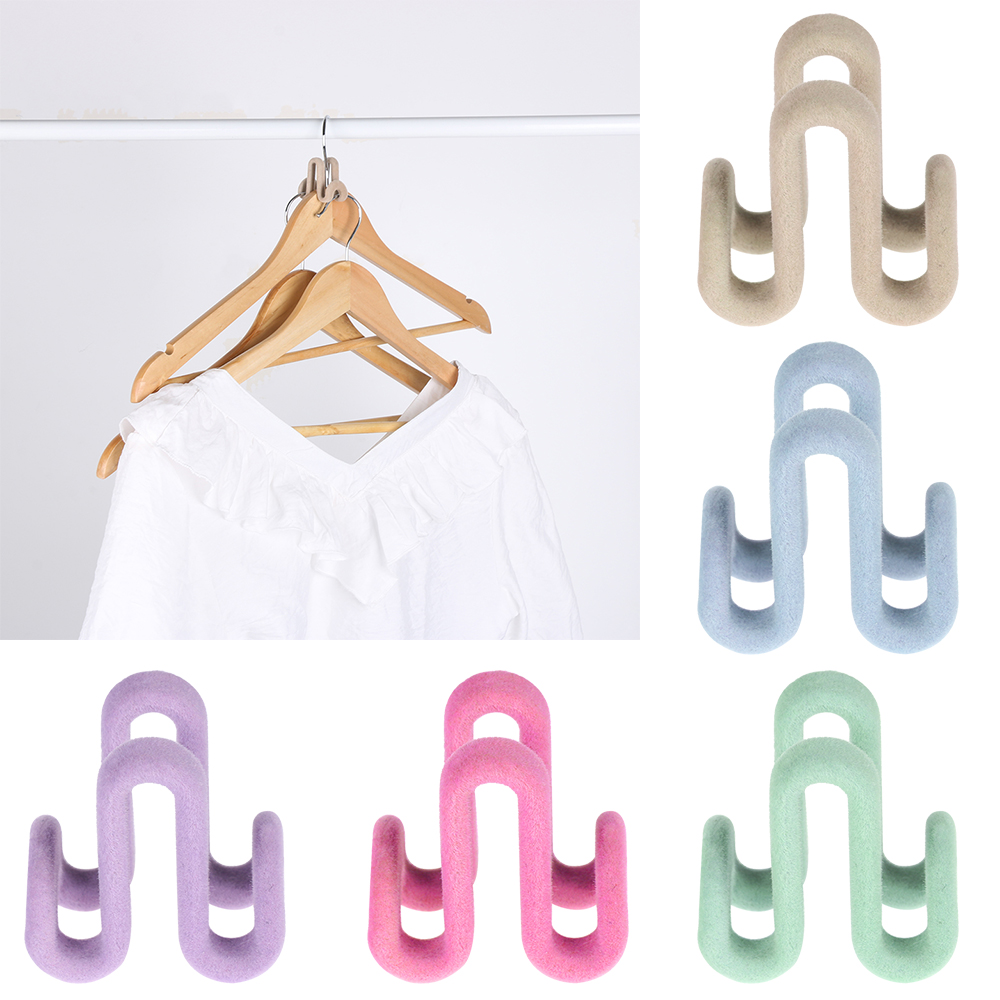 1PC Plastic Flocking Dual Hook Multifunctional Portable Hooks Clothes Bags Hangers Drying Racks Double-sided Closet Organizer