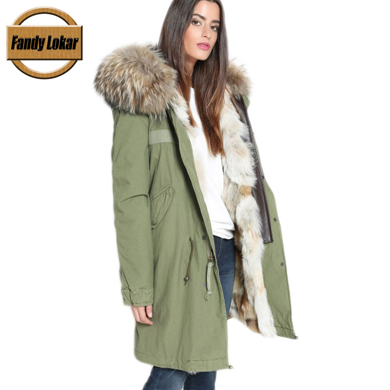 New Solid Color Warm Raccoon Fur Collar Coat Women Winter Real Wolf Fur Liner Hooded Jacket Women Bomber Parka Female Ladies printed long raccoon fur collar coat women winter real rabbit fur liner hooded jacket women bomber parka female ladies fp896