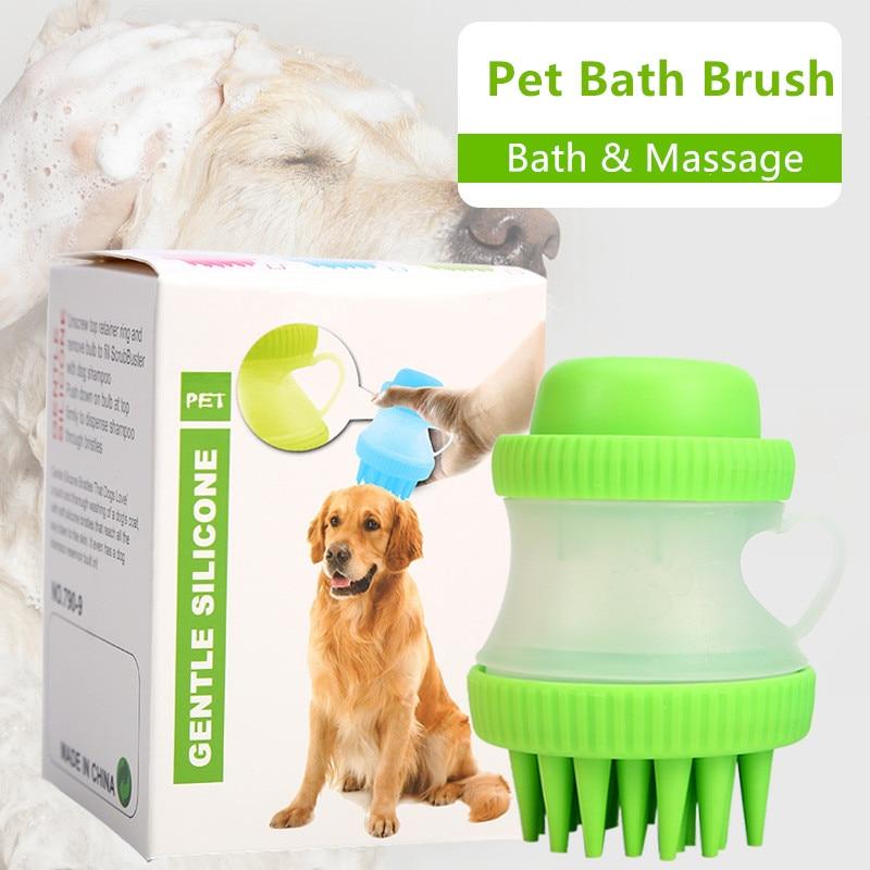 Pet Dog Cat Bath  Massage Brush, Shampoo Dispenser -Soft Bristle- Pet Cleaner Device Washer Bathing Comb Tool