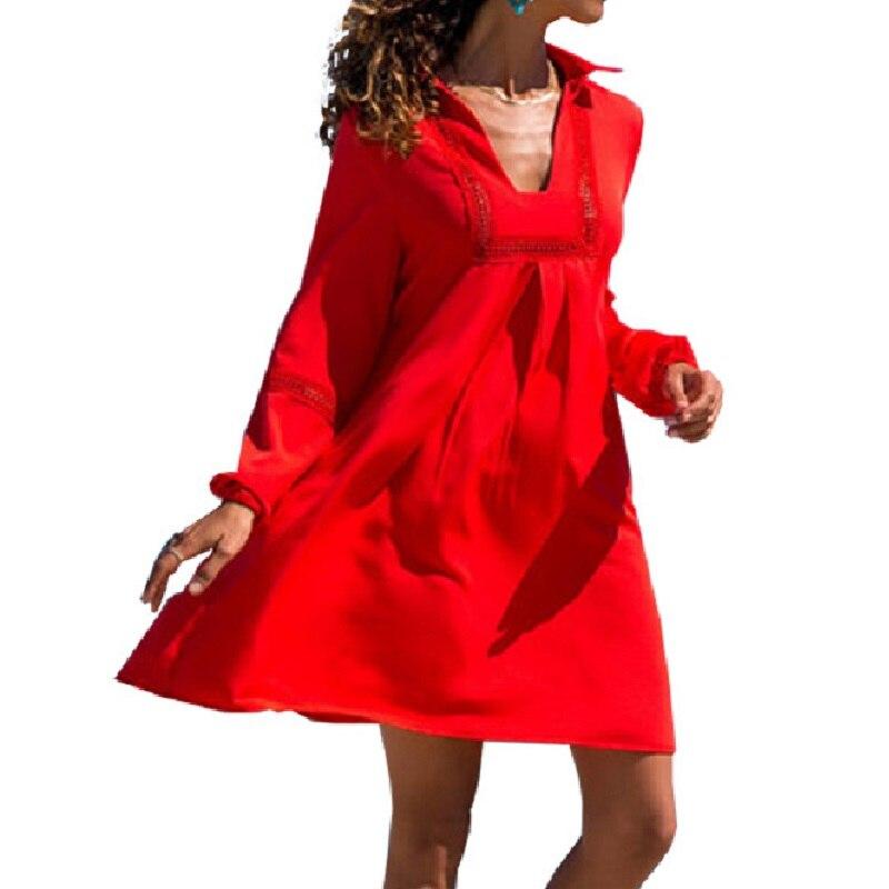2019 Spring Summer New Dress Fashion Sexy Lapel Female Fashion Loose Mini Dresses Autumn Women Clothing Bohemian White Red Dress